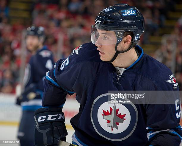Marko Dano of the Winnipeg Jets skates around on a play stoppage during an NHL game against the Detroit Red Wings at Joe Louis Arena on March 10 2016...