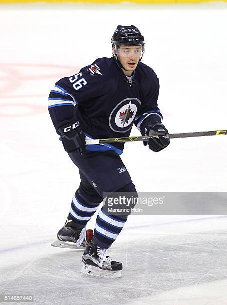 Marko Dano of the Winnipeg Jets skates down the ice in first period action in an NHL game against the Montreal Canadiens at the MTS Centre on March 5...