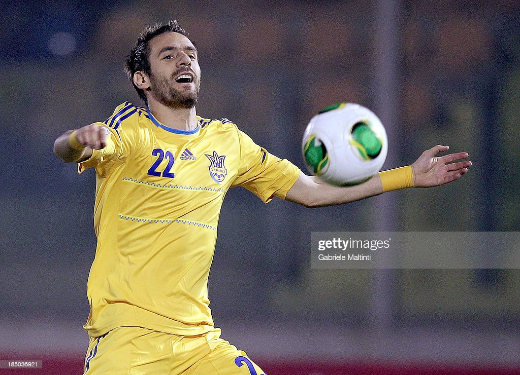 Marko Devich of Ukraine in action during the FIFA 2014 World Cup Qualifier Group H match between San Marino and Ukraine at Serravalle Stadium on October 15, 2013 in Serravalle, Italy.