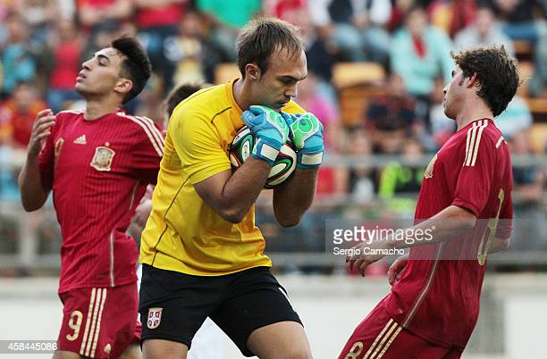 Marko Dmitrovic of Serbia catches the ball during the UEFA European Under21 Championship playoff second leg match between Spain and Serbia at the...