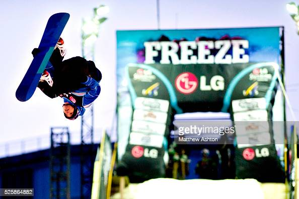 Marko Grilic from Slovenia poses after he won the LG Snowboard International Ski Federation in London