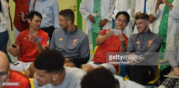Marko Grujic and Alberto Moreno of Liverpool visit The Duchess of Kent Children's Hospital Hong Kong during the PreSeason tour on July 17 2017 in...