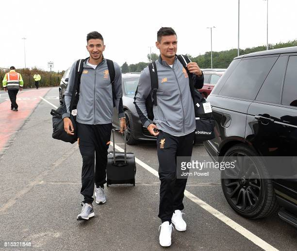 Marko Grujic and Dejan Lovren of Liverpool arrives at Manchester Airport on July 16 2017 in Liverpool England
