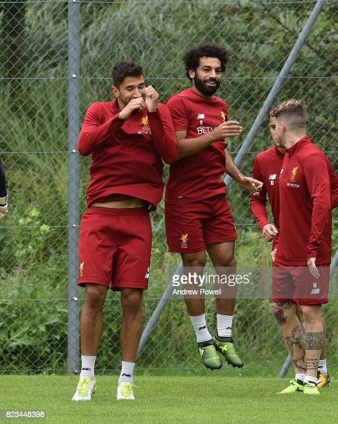 Marko Grujic and Mohamed Salah of Liverpool during a training session at RottachEgern on July 27 2017 in Munich Germany