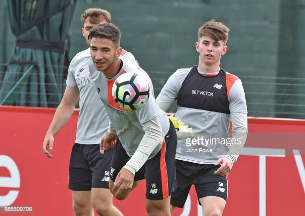 Marko Grujic Ben Woodburn and Connor Randall of Liverpool during a training session at Melwood Training Ground on May 19 2017 in Liverpool England