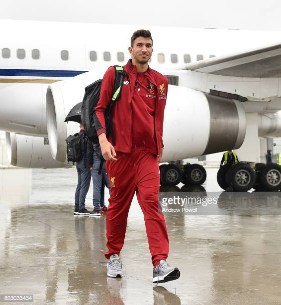 Marko Grujic of Liverpool arriving at Munich International Airport for the pre season training camp on July 26 2017 in Munich Germany