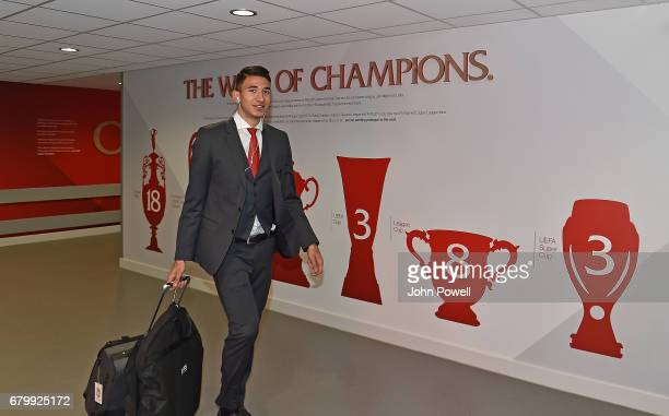 Marko Grujic of Liverpool arrivng for the Premier League match between Liverpool and Southampton at Anfield on May 7 2017 in Liverpool England