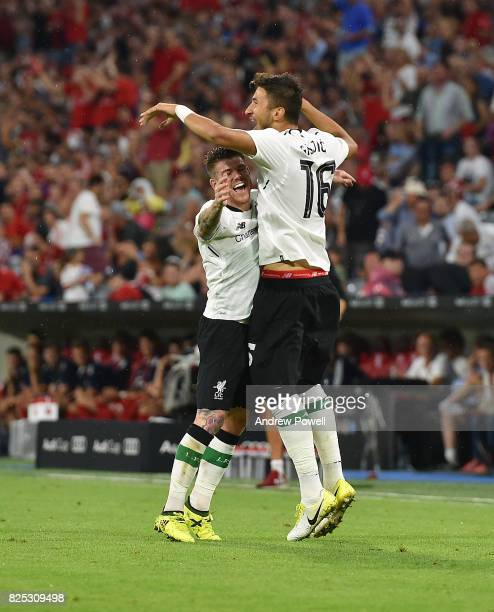 Marko Grujic of Liverpool celebrates after scoring but his goal is disallowed during the Audi Cup 2017 match between Bayern Muenchen and Liverpool FC...