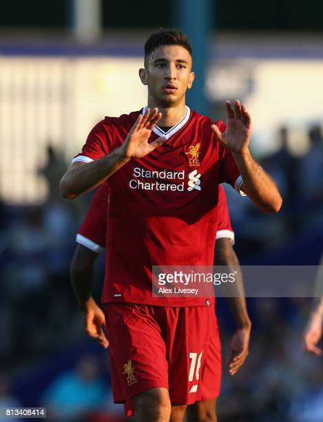 Marko Grujic of Liverpool celebrates after scoring the second goal during a preseason friendly match between Tranmere Rovers and Liverpool at Prenton...
