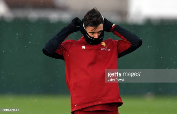 Marko Grujic of Liverpool during a training session at Melwood Training Ground on December 8 2017 in Liverpool England