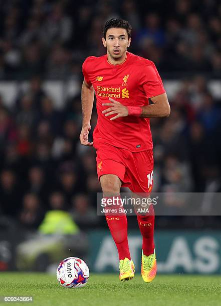 Marko Grujic of Liverpool during the EFL Cup Third Round match between Derby County and Liverpool at iPro Stadium on September 20 2016 in Derby...