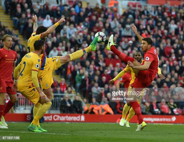 Marko Grujic of Liverpool during the Premier League match between Liverpool and Crystal Palace at Anfield on April 23 2017 in Liverpool England