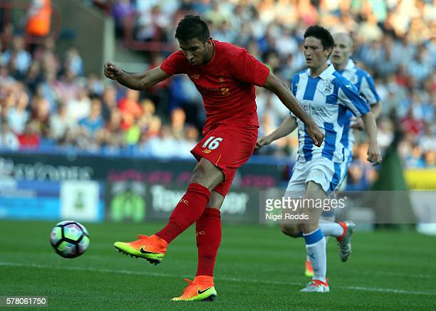 Marko Grujic of Liverpool shoots to score during the PreSeason Friendly match between Huddersfield Town and Liverpool at the Galpharm Stadium on July...