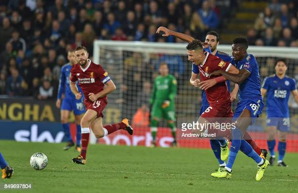 Marko Grujic of Liverpool with Daniel Amartey of Leicester during the Carabao Cup third round match between Leicester City and Liverpool at The King...