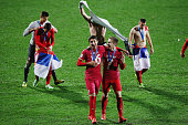 Marko Grujic of Serbia and Ivan Saponjic of Serbia celebrate after winning the FIFA U20 World Cup Final match between Brazil and Serbia at North...