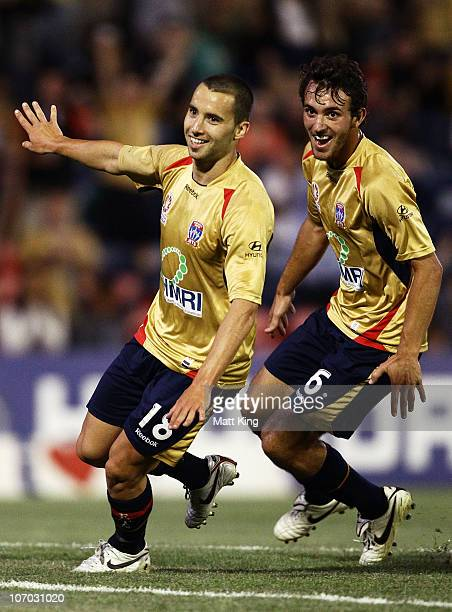 Marko Jesic of the Jets celebrates with Ben Kantarovski after scoring the only goal during the round 15 ALeague match between the Newcastle Jets and...