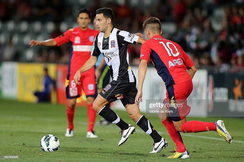 Marko Jesic of the Jets runs with the ball during the round 25 A-League match between Adelaide United and the Newcastle Jets at Hindmarsh Stadium on March 15, 2013 in Adelaide, Australia.