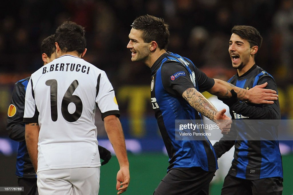 Marko Livaja (C) of FC Internazionale Milano celebrates after scoring the opening goal during the UEFA Europa League group H match between FC Internazionale Milano and Neftci PFK on December 6, 2012 in Milan, Italy.