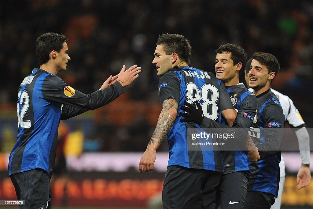 Marko Livaja (C) of FC Internazionale Milano celebrates with his team-mates after scoring the opening goal during the UEFA Europa League group H match between FC Internazionale Milano and Neftci PFK on December 6, 2012 in Milan, Italy.