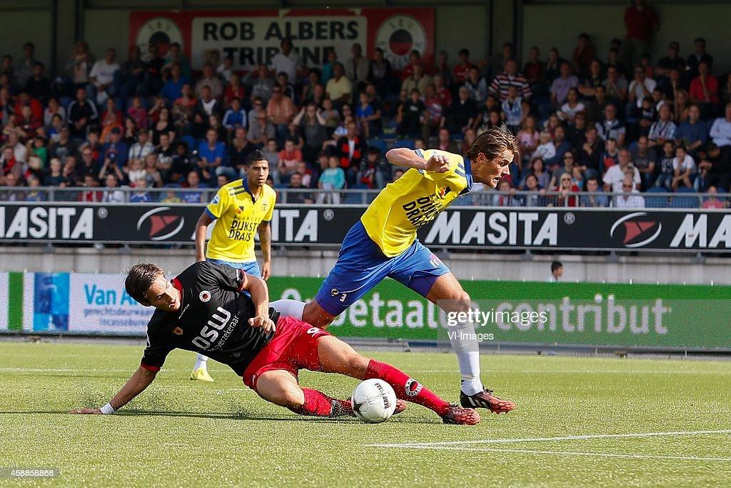 Marko Maletic of Excelsior Marlon Pereira of Cambuur Leeuwarden Etienne Reijnen of Cambuur Leeuwarden during the Dutch Eredivisie match between...
