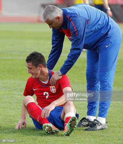 Marko Mijailovic of Serbia looks dejected after the UEFA Under17 Elite Round between Serbia and Germany at Stadion Karadjordje on March 31 2014 in...