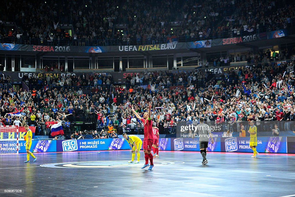 Marko Peric of Serbia celebrate his team victory over Ukraine during the UEFA Futsal EURO 2016 quarter final match between Serbia and Ukraine at Arena Belgrade on February 8, 2016 in Belgrade, Serbia.