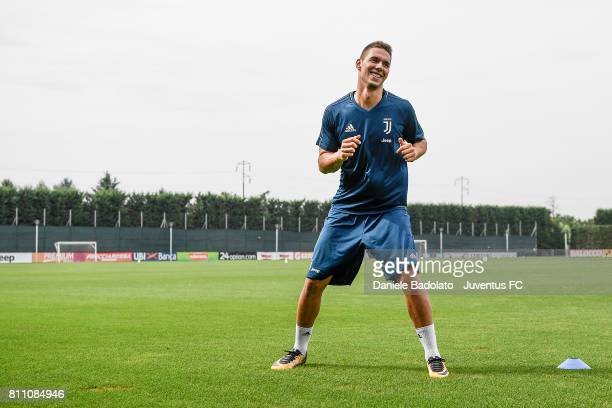 Marko Pjaca of Juventus during a training session on July 9 2017 in Vinovo Italy