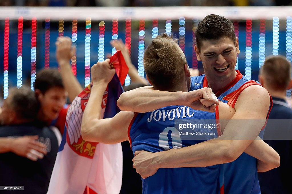 Marko Podrascanin and Nikola Jovovic of Serbia celebrate victory after the FIVB World League Group 1 Finals semifinal match against the United States...