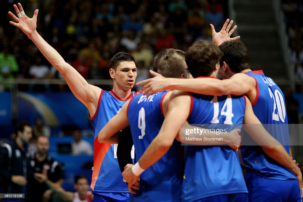 Marko Podrascanin of Serbia celebrates with his teammates during the FIVB World League Group 1 Finals semifinal match between the United States and...