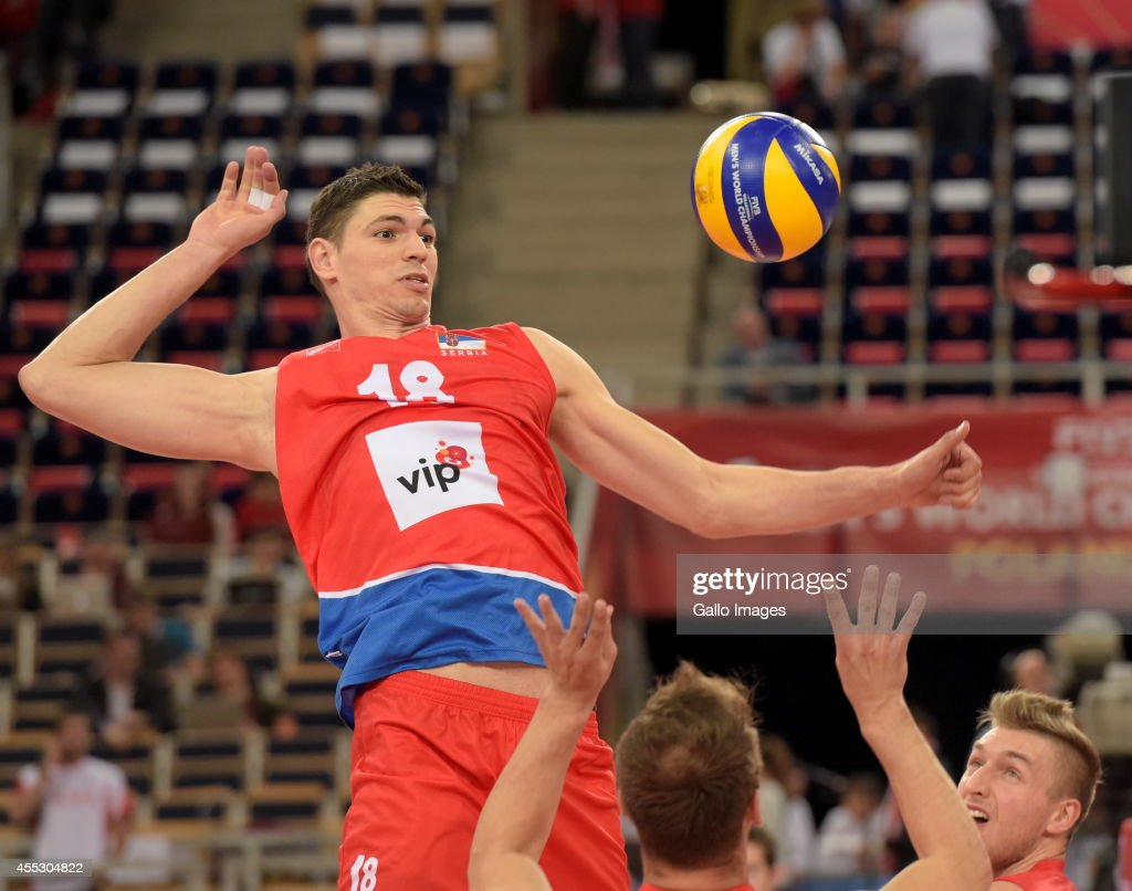 Marko Podrascanin of Serbia during Round 2 of the FIVB Volleyball Mens World Championship match between Serbia and United States at Atlas Arena on...