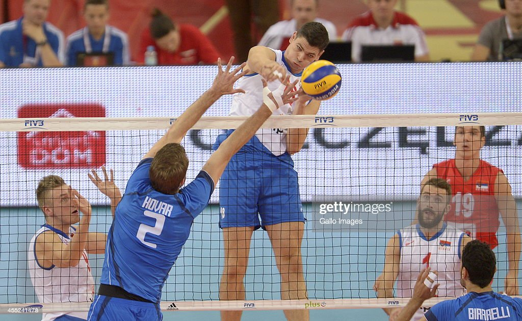 Marko Podrascanin of Serbia in action during Round 2 of the FIVB Volleyball Mens World Championship match between Serbia and Italy at Atlas Arena on...