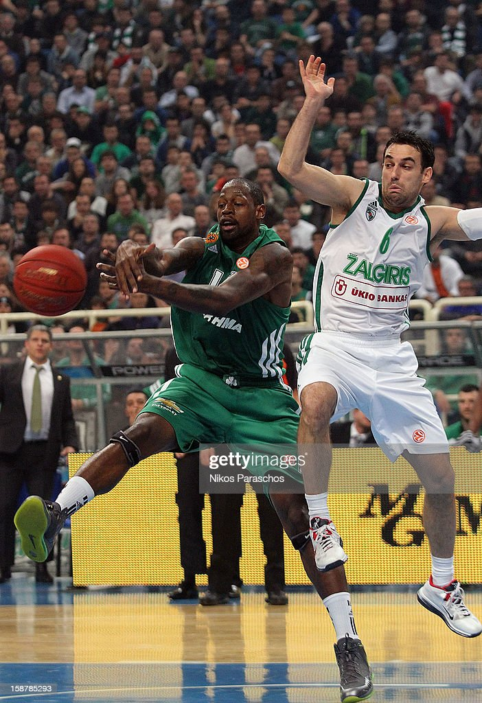 Marko Popovic, #6 of Zalgiris Kaunas competes with <a gi-track='captionPersonalityLinkClicked' href=/galleries/search?phrase=Marcus+Banks&family=editorial&specificpeople=201469 ng-click='$event.stopPropagation()'>Marcus Banks</a>, #15 of Panathinaikos Athens during the 2012-2013 Turkish Airlines Euroleague Top 16 Date 1 between Panathinaikos Athens v Zalgiris Kaunas at OAKA on December 28, 2012 in Athens, Greece.