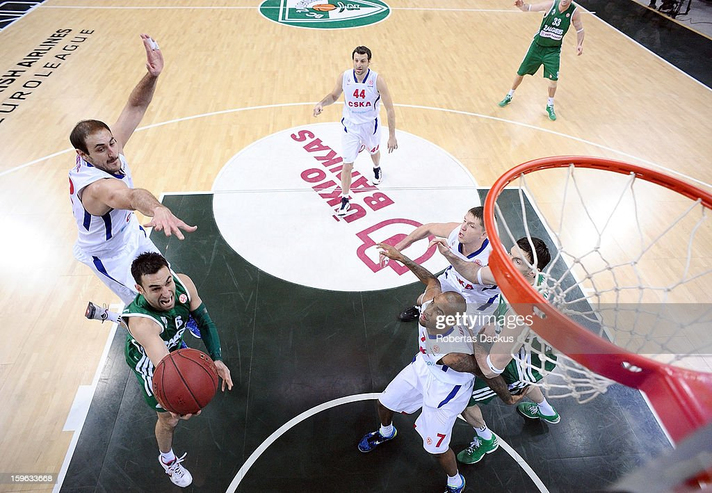 Marko Popovic, #6 of Zalgiris Kaunas competes with <a gi-track='captionPersonalityLinkClicked' href=/galleries/search?phrase=Nenad+Krstic&family=editorial&specificpeople=202625 ng-click='$event.stopPropagation()'>Nenad Krstic</a>, #12 of CSKA Moscow in action during the 2012-2013 Turkish Airlines Euroleague Top 16 Date 4 between Zalgiris Kaunas v CSKA Moscow at Zalgiris Arena on January 17, 2013 in Kaunas, Lithuania.