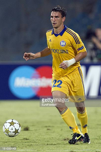 Marko Simic of FC BATE Borisov in action during the UEFA Champions League PlayOff match between Hapoel Kiryat Shmona FC and FC BATE Borisov held on...