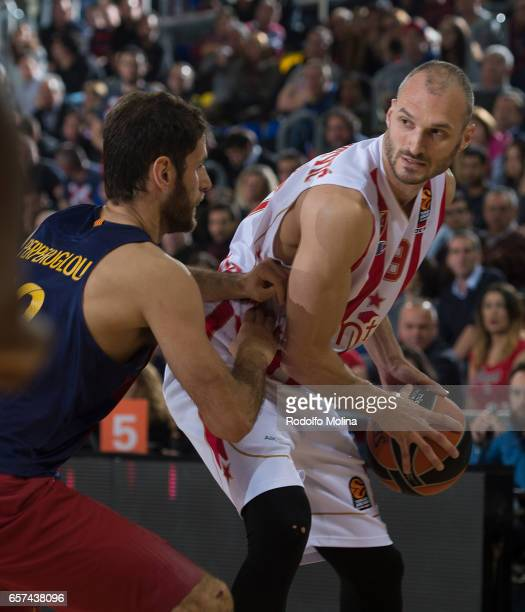 Marko Simonovic #19 of Crvena Zvezda mts Belgrade in action during the 2016/2017 Turkish Airlines EuroLeague Regular Season Round 28 game between FC...