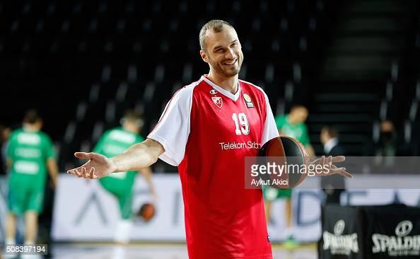 Marko Simonovic #19 of Crvena Zvezda Telekom Belgrade warmsup prior to the Turkish Airlines Euroleague Basketball Top 16 Round 6 game between...