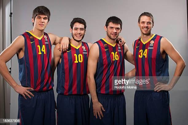 Marko Todorovic #14 Alejandro Abrines #10 Kostas Papanikolau #16 and Bostjan Nachbar #34 poses during the FC Barcelona 2013/14 Turkish Airlines...