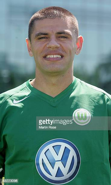 Marko Topic poses during the team presentation of VFL Wolfsburg for the Bundesliga Season 2005 2006 on July 10 2005 in Wolfsburg Germany