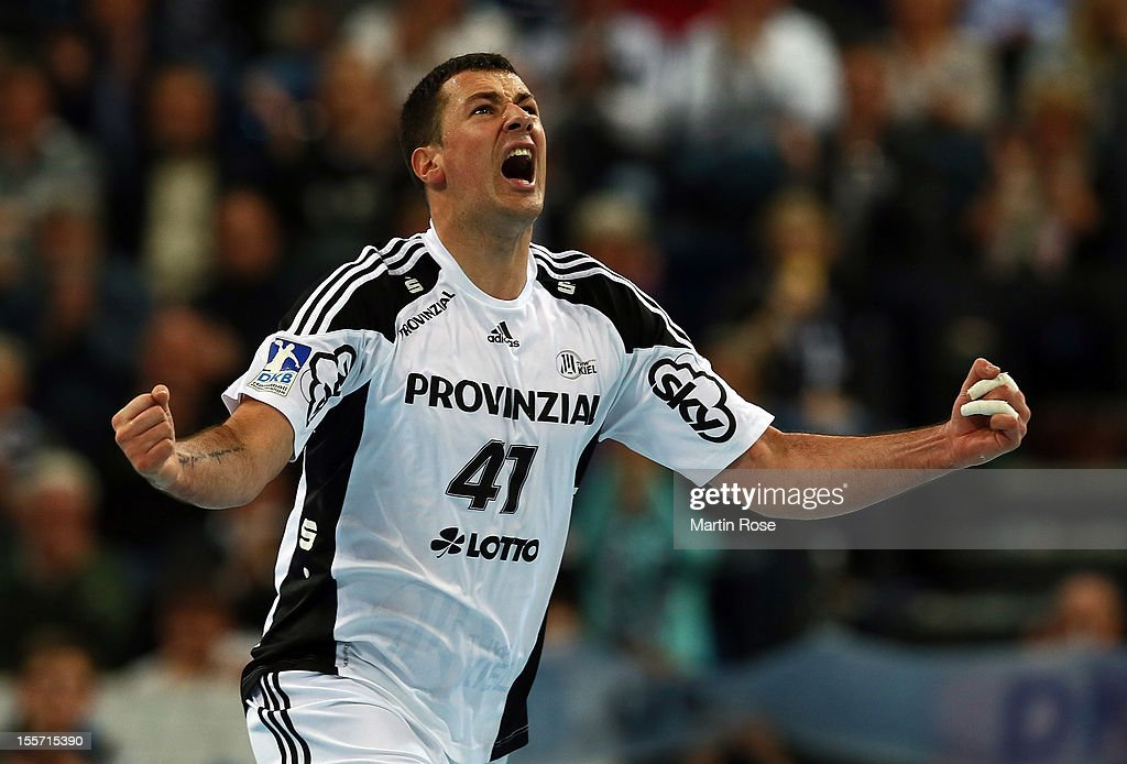 Marko Vujin of Kiel celebrates after scoring during the DKB Handball Bundesliga match between THW Kiel and SG Flensburg-Handewitt at Sparkassen Arena on November 7, 2012 in Kiel, Germany.