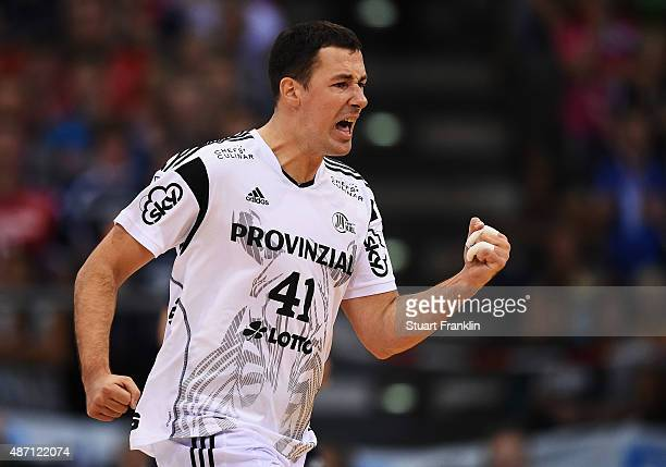 Marko Vujin of Kiel celebrates during the DKB Handball Bundeslga match between SG FlensburgHandewitt and THW Kiel at FlensArena on September 6 2015...