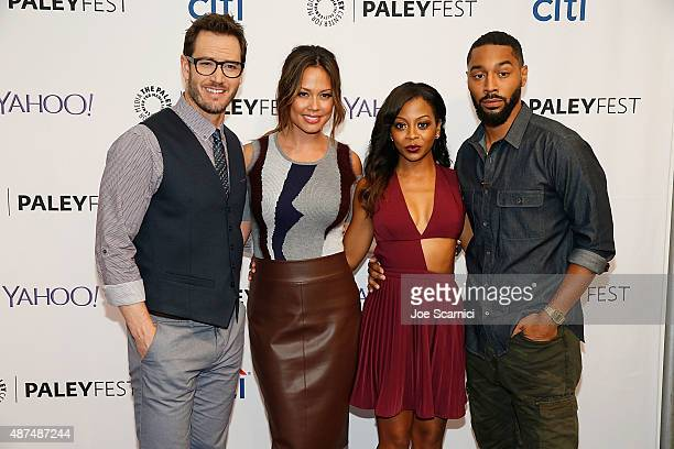 MarkPaul Gosselaar Vanessa Lachey Bresha Webb and Tone Bell attend The Paley Center For Media's PaleyFest 2015 Fall TV Preview NBC at The Paley...