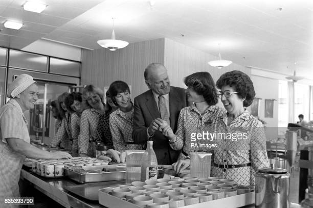 Marks and Spencer chief Lord Sieff standing in line in the staff canteen in a Sheffield store He commented recently that staff facilities should be...
