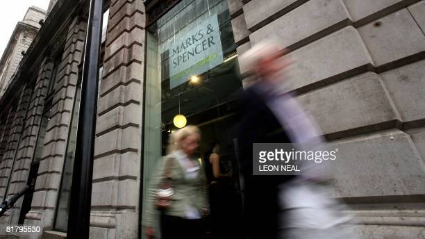 A Marks and Spencer store is pictured in central London on July 2 2008 British retailer Marks and Spencer shares tumbled by almost a fifth on...