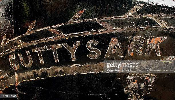 Marks left after the wooden letters spelling the name of The Cutty Sark sailing ship are visible on her stern on October 11 2007 in Greenwich England...