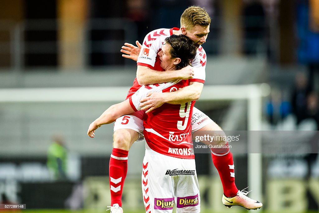 Markus Antonsson and Viktor Agardius of Kalmar FF celebrates after scoring the decisive goal to Kalmar FF during the Allsvenskan match between Kalmar FF and Orebro SK at Guldfageln Arena on May 2, 2016 in Kalmar, Sweden.