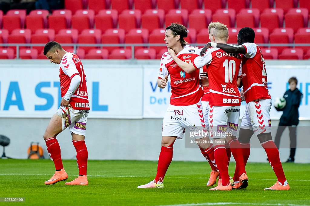 Markus Antonsson of Kalmar FF celebrates after scoring 1-1 during the Allsvenskan match between Kalmar FF and Orebro SK at Guldfageln Arena on May 2, 2016 in Kalmar, Sweden.