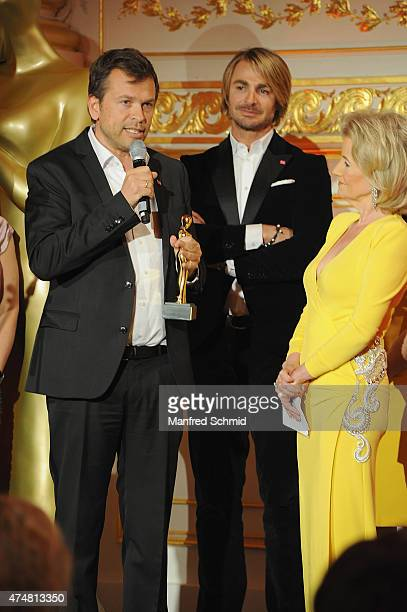 Markus Breitenecker Leo Hillinger and Elisabeth Guertler speak on stage during the ROMY 2015 Academy Award at Hofburg Vienna on April 23 2015 in...
