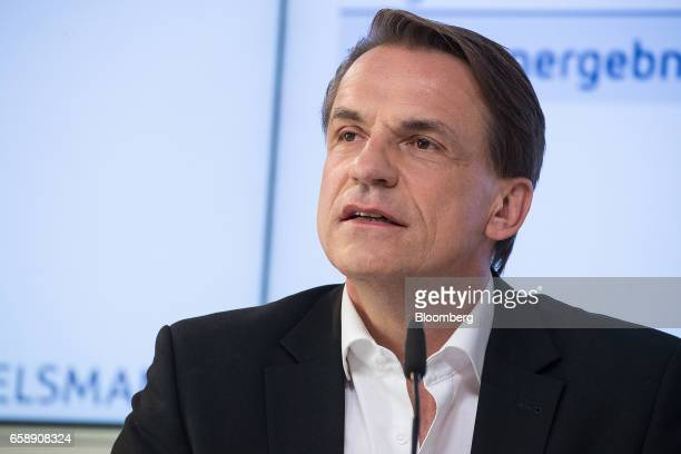 Markus Dohle chief executive officer of Penguin Random House speaks during a news conference in Berlin Germany on Tuesday March 28 2017 Bertelsmann...