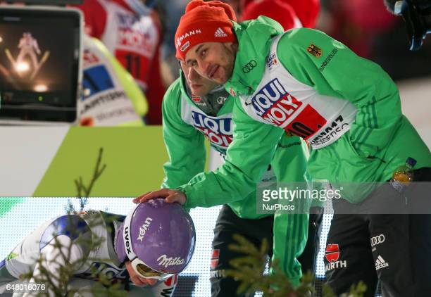 Markus Eisenbichler Andreas Wellinger during the men's team ski jumping HS130 during the FIS Nordic World Ski Championships on March 4 2017 in Lahti...