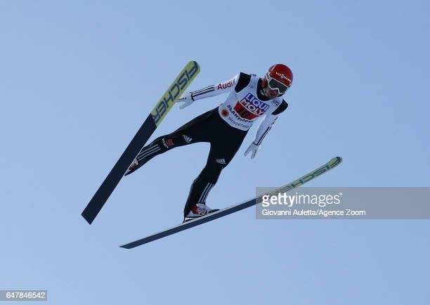 Markus Eisenbichler of Germany competes during the FIS Nordic World Ski Championships Men's Team Ski Jumping HS130 on March 4 2017 in Lahti Finland